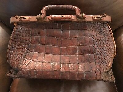 Antique Alligator Doctor Bag Beautiful Display for Practice or Home