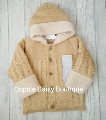 Boys Beautiful Spanish Knitted Hooded Jacket/ Cardigan Fur Lined 3-24mths ☆