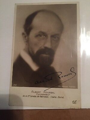 Singed Postcard Portrait Of Albert Roussel