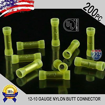 200 Pack 12-10 Gauge Wire Butt Connectors Yellow Nylon 12-10 AWG Crimp Terminals