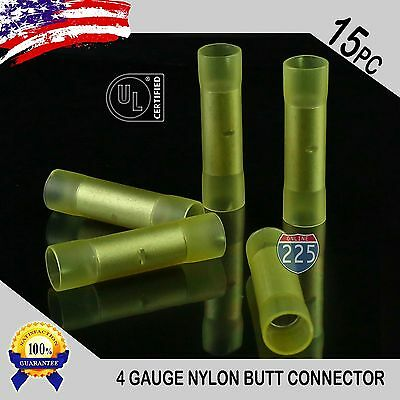 15 Pack 4 Gauge Wire Butt Connectors Yellow Nylon 4 AWG Crimping Terminals USA