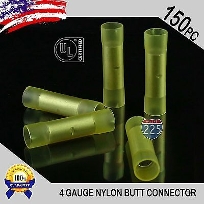 150 Pack 4 Gauge Wire Butt Connectors Yellow Nylon 4 AWG Crimping Terminals USA