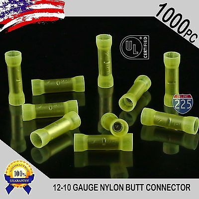 1000 Pack 12-10 Gauge Wire Butt Connectors Yellow Nylon 12-10 AWG Crimp Terminal