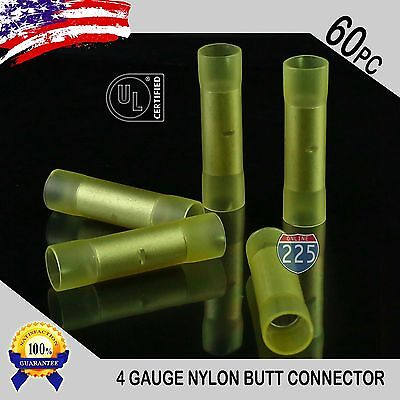 60 Pack 4 Gauge Wire Butt Connectors Yellow Nylon 4 AWG Crimping Terminals USA