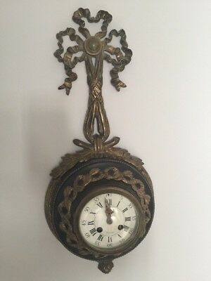 ANTIQUE FRENCH BRONZE & Tole CARTEL WALL CLOCK by SAMUEL MARTI - Working!