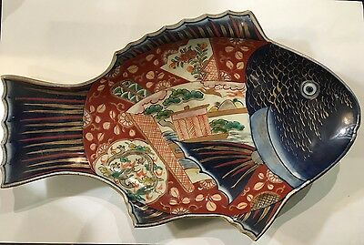 Good Antique Japanese Imari Porcelain Large Fish Form Plate Dish Platter - 19c