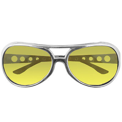 King Elvis Presley Costume Sunglasses Glasses Aviator Style Yellow Lens Sliver