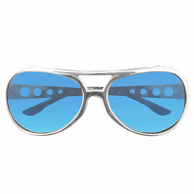 King Elvis Presley Costume Sunglasses Glasses Aviator Style Blue Lens Sliver Frm