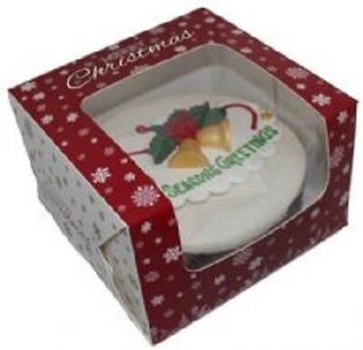 "Snowflake Christmas Design 6"" Cake Boxes - no cake supplied - FREEPOST"
