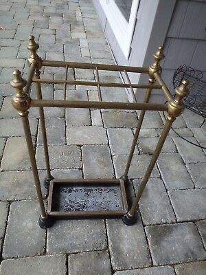 Antique Brass And Cast Iron Walking Stick, Cane Or Umbrella Holder