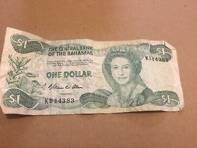 Central Bank of the Bahamas $1 One Dollar Bank Note 1974