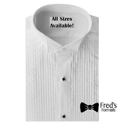 New Mens Size Large 16-16.5 34-35  Wing Collar Tuxedo Shirt 1/4 Pleated Formal