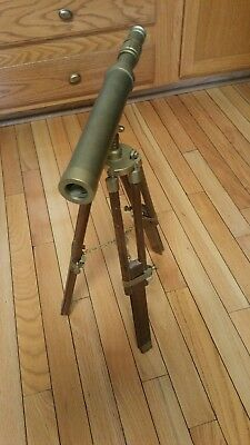 Vintage  table Standing Tripod Antique Brass Maritime Telescope .
