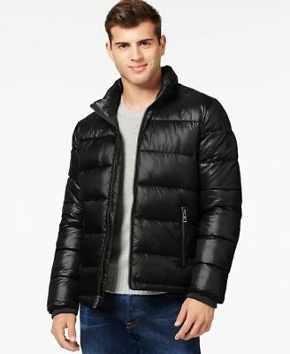 $210 NEW GUESS Men's BLACK QUILTED PUFFER HOOD ZIP JACKET WINTER COAT SIZE 2XL