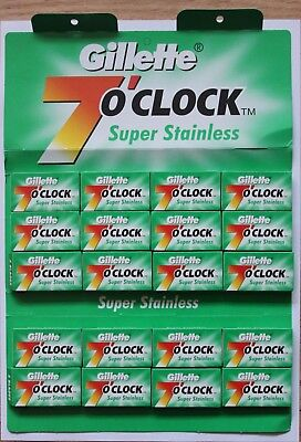 Gillette 7 o'clock Super Stainless Double Edge Razor Shaving Blades Russia Green