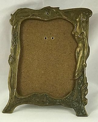 Vintage Art Decco Brass Picture Frame,  Sculpted Lady Insert, Easel Back