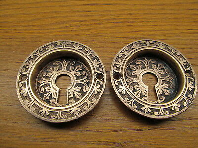 Old Pair Eastlake ? Pocket Door Escutcheons Brass ?