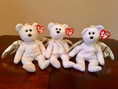 61b92fe9c97 Halo II Ty Beanie Babies Angel Bear Lot of 3 with Tags Excellent Condition