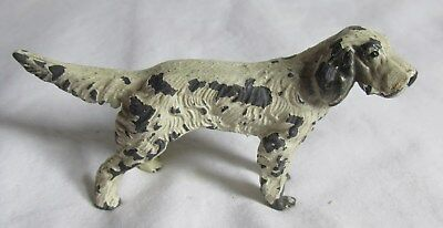 VINTAGE SPELTER METAL Hunting  Retriever Pointer DOG Original paint small size