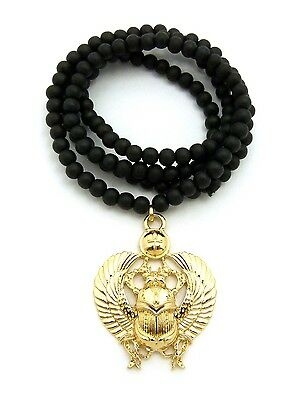 """Gold Egyptian Scarab Beetle Pendant Charm 30"""" Wood Bead Chain Wooden Necklace"""