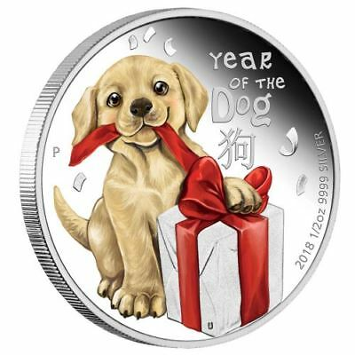 2018 Tuvalu BABY DOG 1/2 oz Silver Proof 50c Coin Lunar Year Colorized