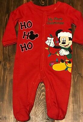 NWT Disney Baby Mickey Mouse My First Christmas Sleeper Baby Holiday Red 3 month