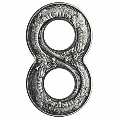Australia 2018 Innovative Figure Eight Shape Dragon 2oz $2 Silver Antiqued Coin
