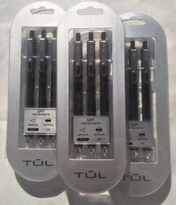 TUL GL3 Retractable Gel Pens Fine Point 0.5 mm Black Ink-Lot Of 3 x 3: 9 Total