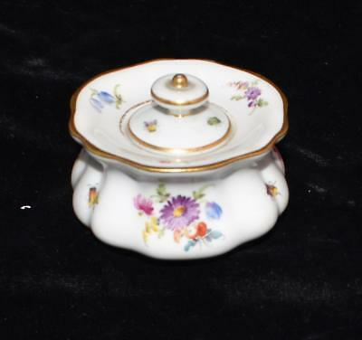"""ANTIQUE MEISSEN INKWELL W/COVER -BUGS & FLOWERS - Ca 1880- 2""""H x 3'D"""