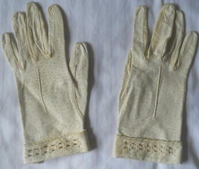 Ladies Vintage 1930S Cream Patterned Leather Gloves Cuffed Wrist Trim 7