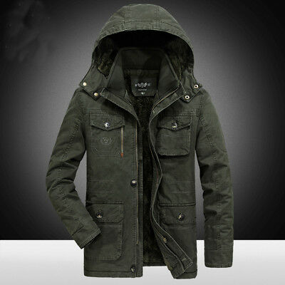 New tags Mens Military Thicken Winter Hooded Fleece Lined Jacket Coat Overcoats