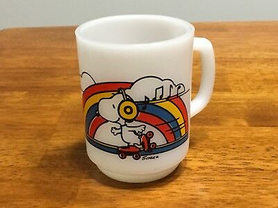 "Vintage Fire King Mug - Snoopy Roller Skating - ""How Nice...Skater's Waltz"""