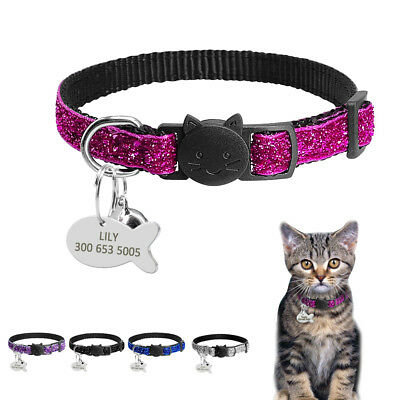 Sequins Personalised Dog Collars Breakaway Cat Collars&Dog Tags&Bell Custom Free