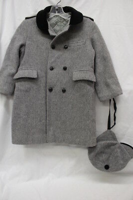 FIELDSTON CLOTHES Gray Double Breasted Girls Long Coat,Matching Hat Sz S USA-B29