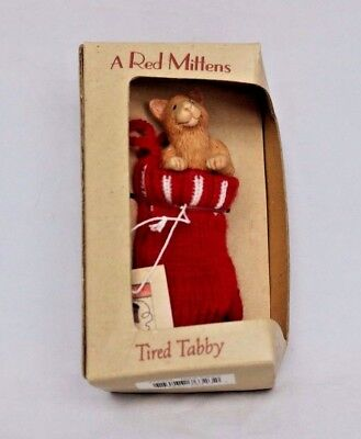 Paris Bottman TIRED TABBY Red Mittens Christmas Holiday Ornament NEW NIP 2002
