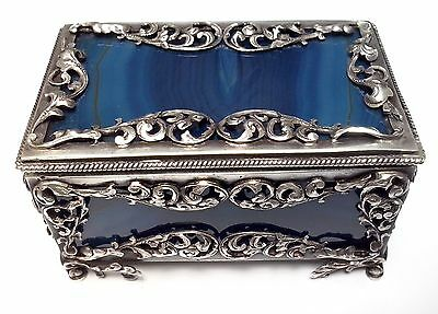 Museum Early 19Th Century Victorian Snuff Box Silver & Blue Agate Very Rare