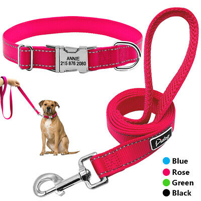 Personalised Dog Collars and Leads Leash Custom Pet ID Name Tag Reflective M L