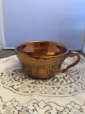 Antique Large Copper Luster Lustre Mug Cup Marked PV Italy