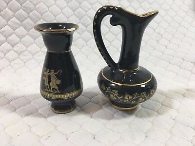 Stunning Vase And Pitcher Hand Made in Greece 24K Gold & Black Greek Pottery