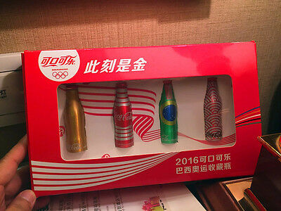 Rare China 2016 coca cola Brazil Olympic Games mini aluminum bottle with box set