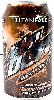 "Mountain Dew Game Fuel Mango Heat Full ""Titanfall 2"" Rare MTNDEW Full Can"