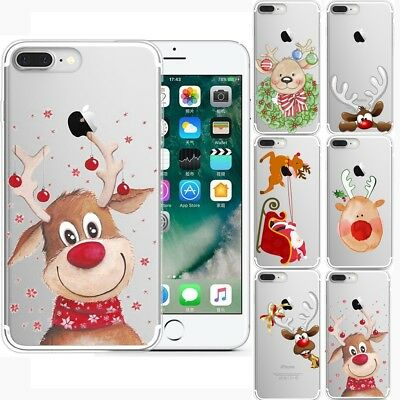 Merry Christmas Printed Transparent TPU Case Cover For iPhone X 8 7 6S SamsungS8