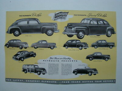 Plymouth Fold-Out Car Brochure DeLuxe Super DeLuxe & Town & Country 1946?