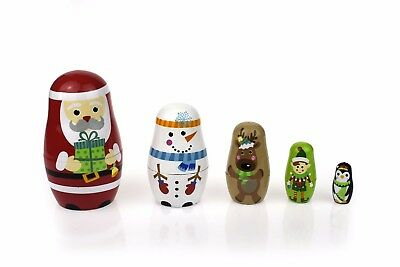 Wooden Nesting Dolls Christmas Design Set of 5 Babushka Dolls, Russian Dolls