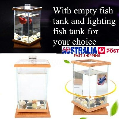 LED Small Clear Desktop Glass Fish Wood Stand Tank Aquarium Container Home Decor
