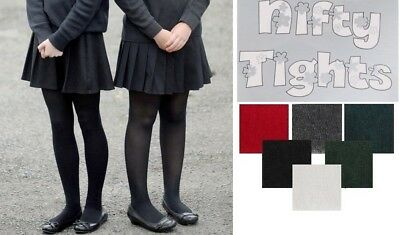 3x Girls Tights Super Soft Cotton Rich Lycra School Kids Tights Age 2-13 Years