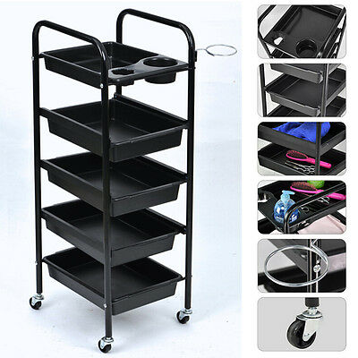 Black 5 Tiers Hairdresser Salon Spa Hair Trolley Rolling Storage Cart  AU