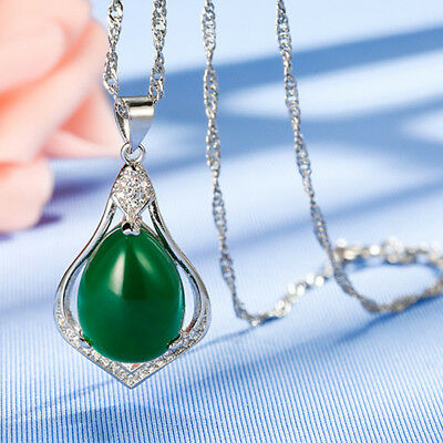 Fashion Silver Plated Necklace Womens Jewellery Chrysoprase Pendant Filled Heart