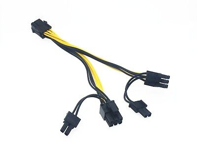 1x 6-pin PCIE Female to 2x 6+2-pin PCIe Male Video Card Power Splitter CABLE