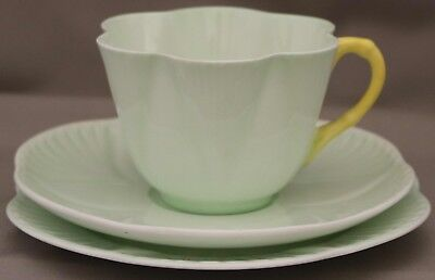 Shelley Trio - Dainty Cup/Saucer/Plate - Pastel Green with  yellow handle on cup
